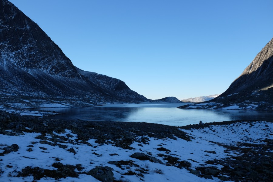 Ice cold morning at Langvatnet lake in Dovrefjell National Park, Norway