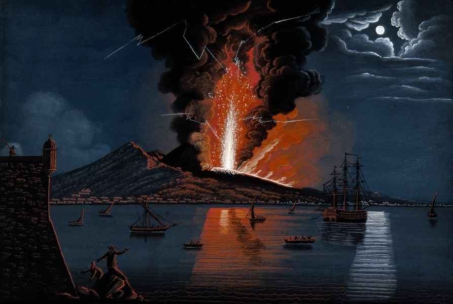Mount Vesuvius erupting violently at night over the bay of N Wellcome V0025240