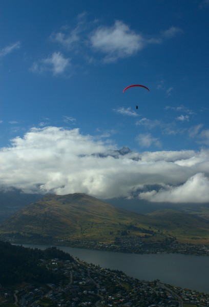 Paragliding high above Queenstown