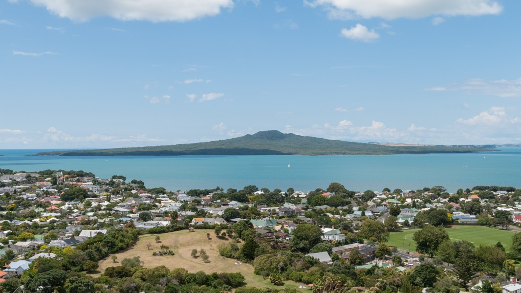 Rangitoto Island as seen from Mount Victoria Reserve in Devonport, North Shore City 20100128 1