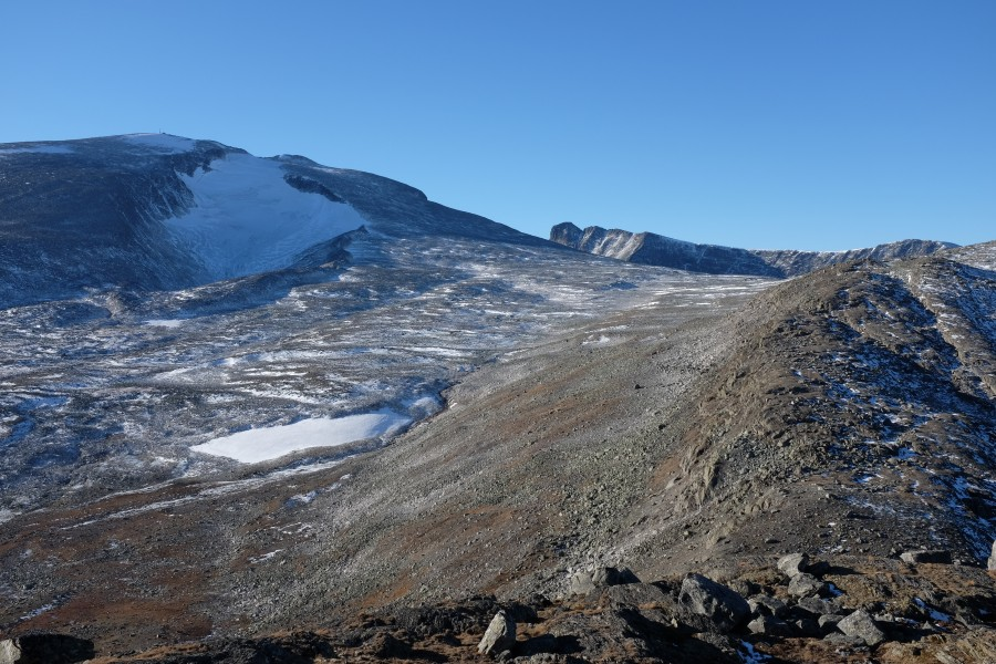 View from north towards Snøhetta mountain peak in Dovrefjell National Park, Norway