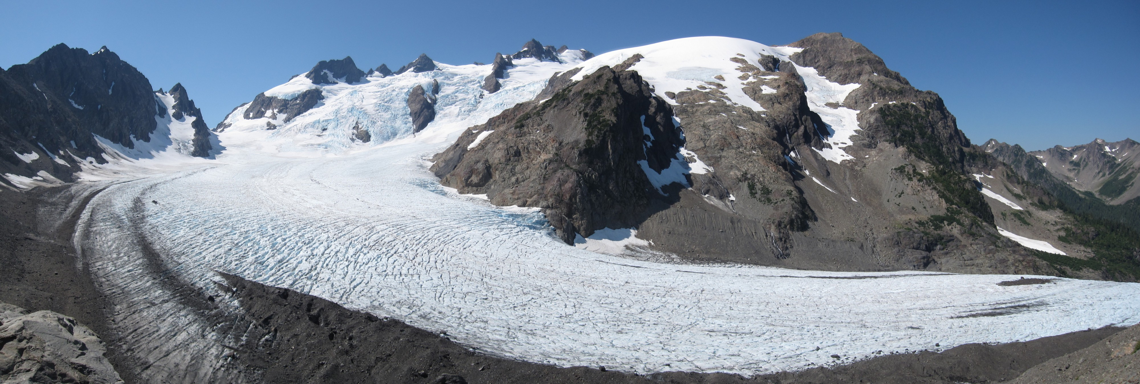 Mount Olympus Blue Glacier from Lateral Moraine Panorama