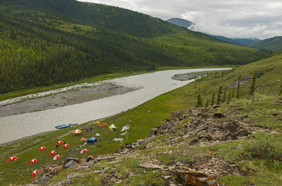 Campsite along Firth River at Joe Creek confluence, seen from above