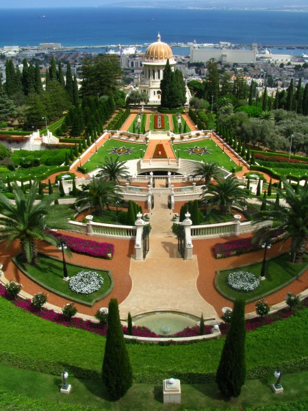 Baha'i Gardens terraces from above
