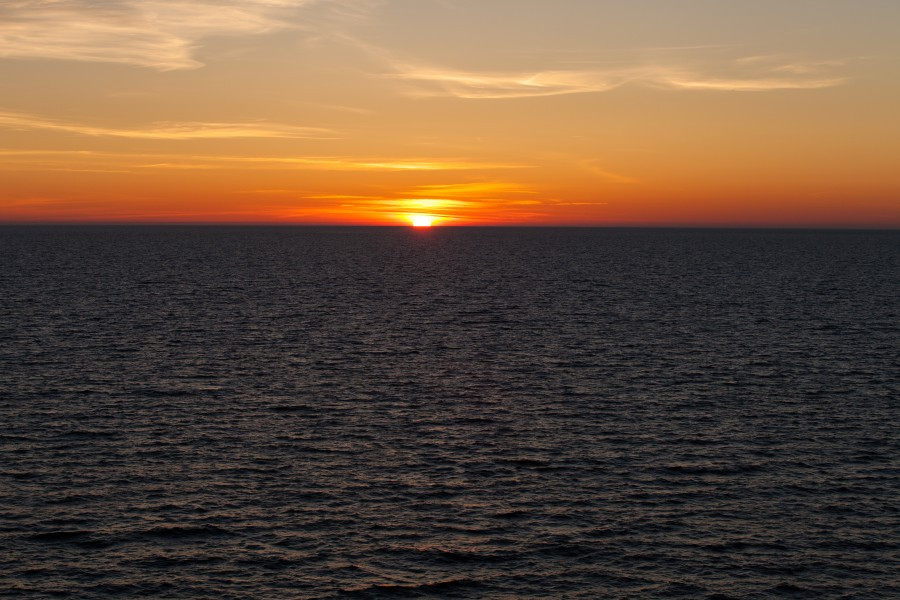 a sunset in the Baltic sea in June 2014