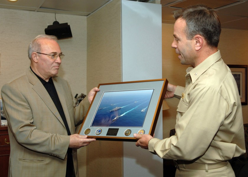 US Navy 060516-N-3396B-001 Rear Adm. Ray Spicer presents a goodwill gift to Bulgarian Minister of Defense the Honorable Vesselin Bliznakov