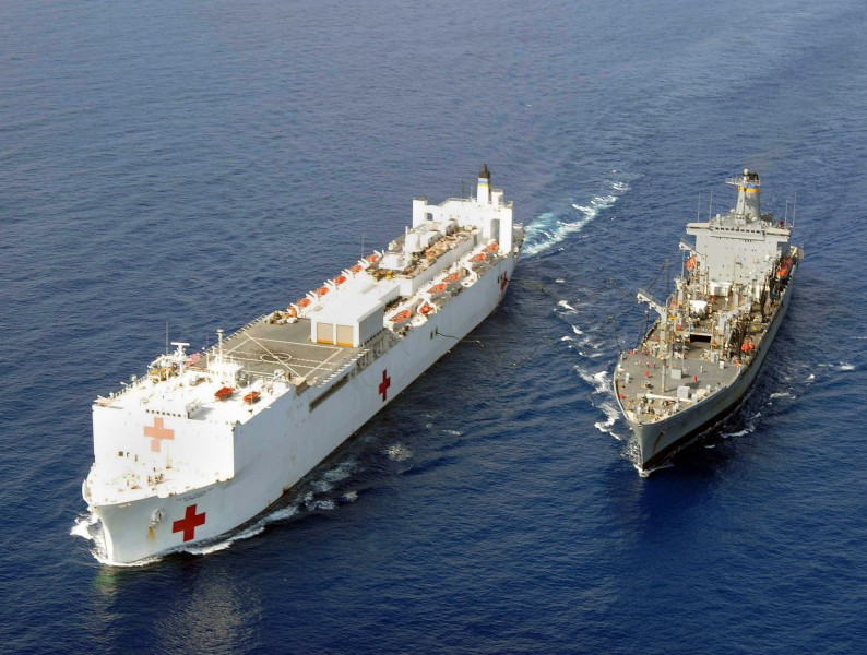 US Navy 100222-N-6410J-027 The Military Sealift Command hospital ship USNS Comfort (T-AH 20), left, and the Military Sealift Command fleet replenishment oiler USNS Leroy Grumman (T-AO 195) conduct an underway replenishment
