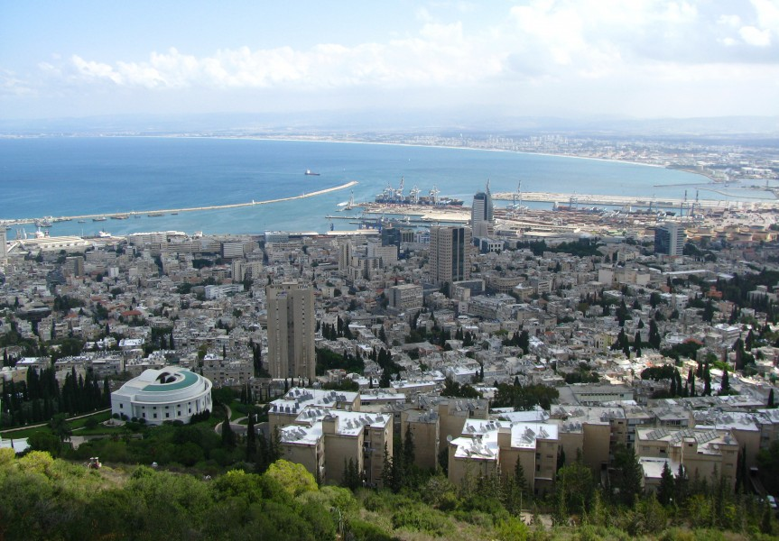 View of Haifa downtown and bay