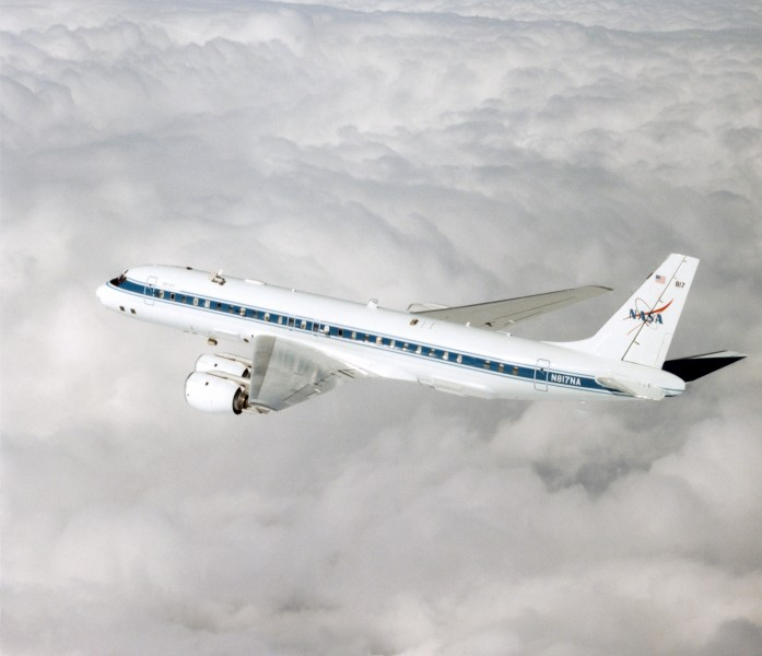 Douglas DC-8 72 over clouds