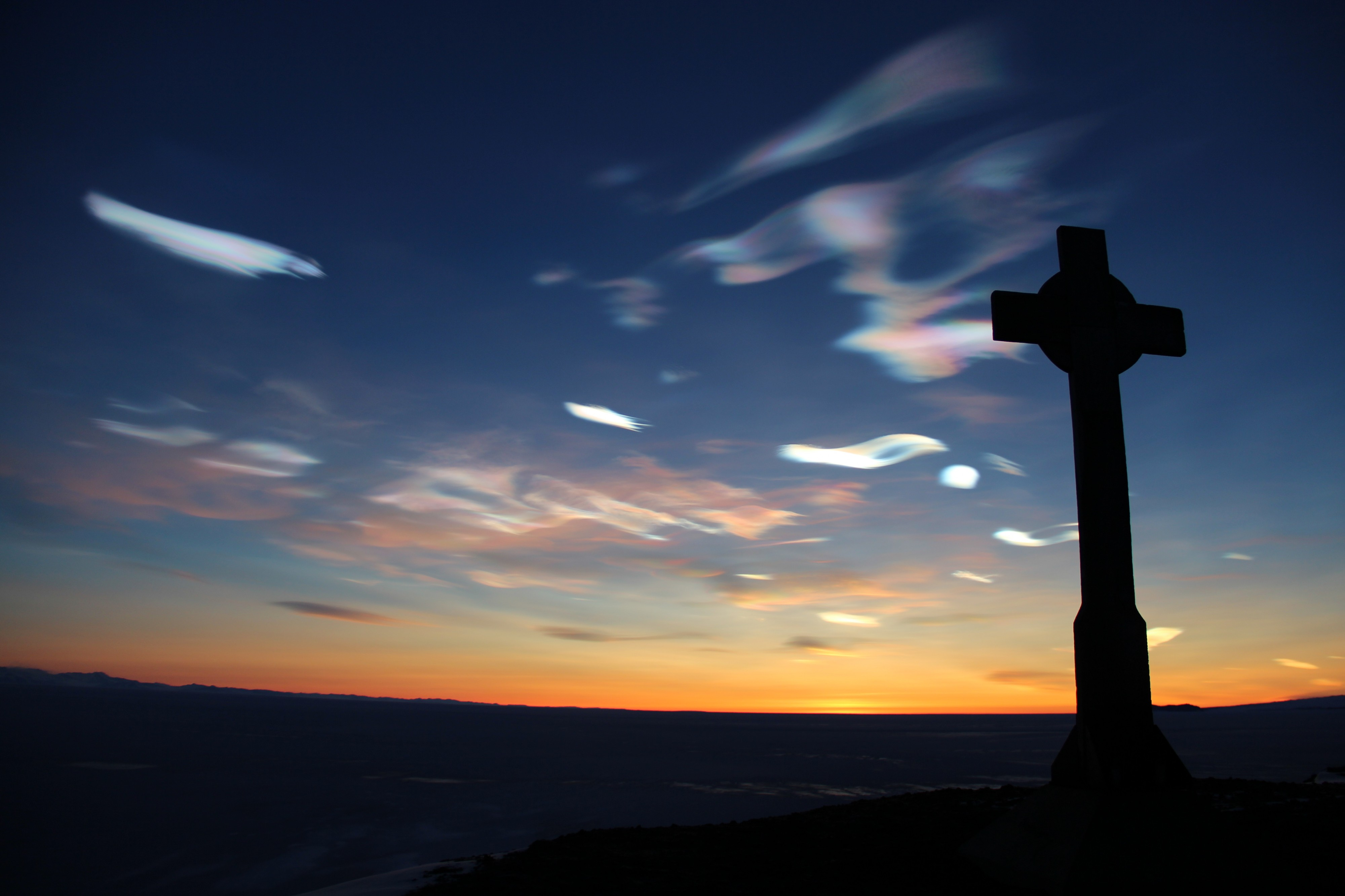 HSM-19 George Vince's Cross with nacreous clouds