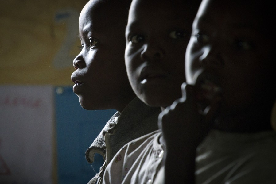Young Congolese boys during a lesson at the Mugosi Primary School
