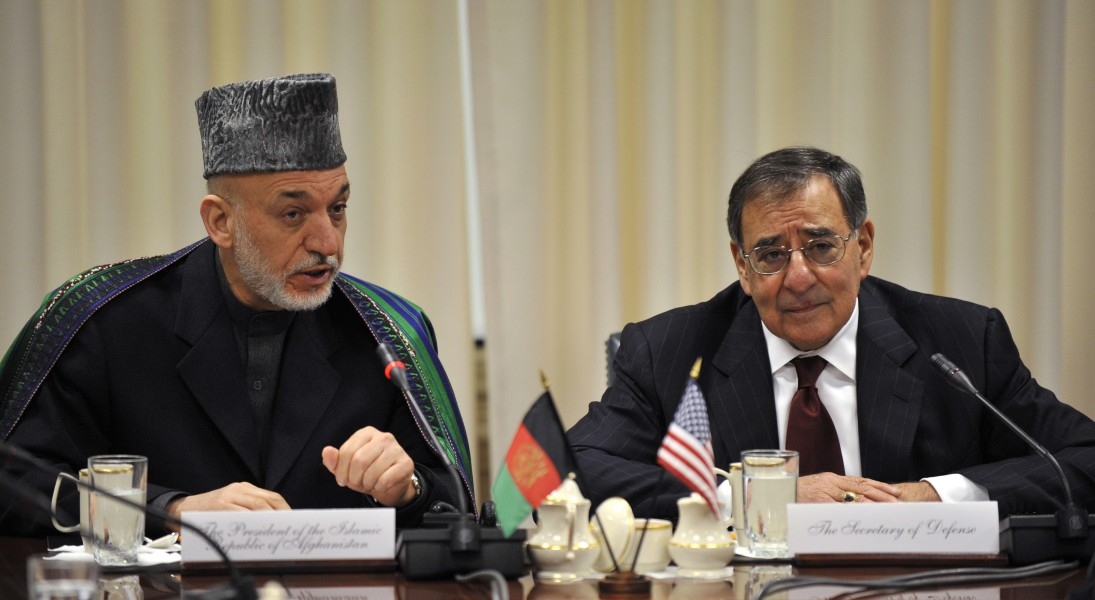 Afghanistan's President Hamid Karzai, left, makes his opening statement at the top of a meeting with Secretary of Defense Leon E. Panetta, right, and their senior advisors in the Pentagon 130110-D-NI589-543