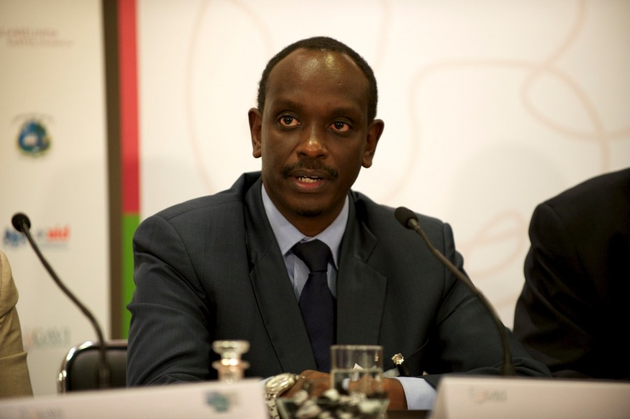 Dr Richard Sezibera, GAVI board member, at the GAVI pledging event press conference