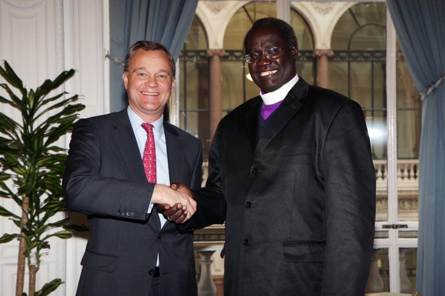 Foreign Office Minister Mark Simmonds with Archbishop Dr. Daniel Deng Bul Yak