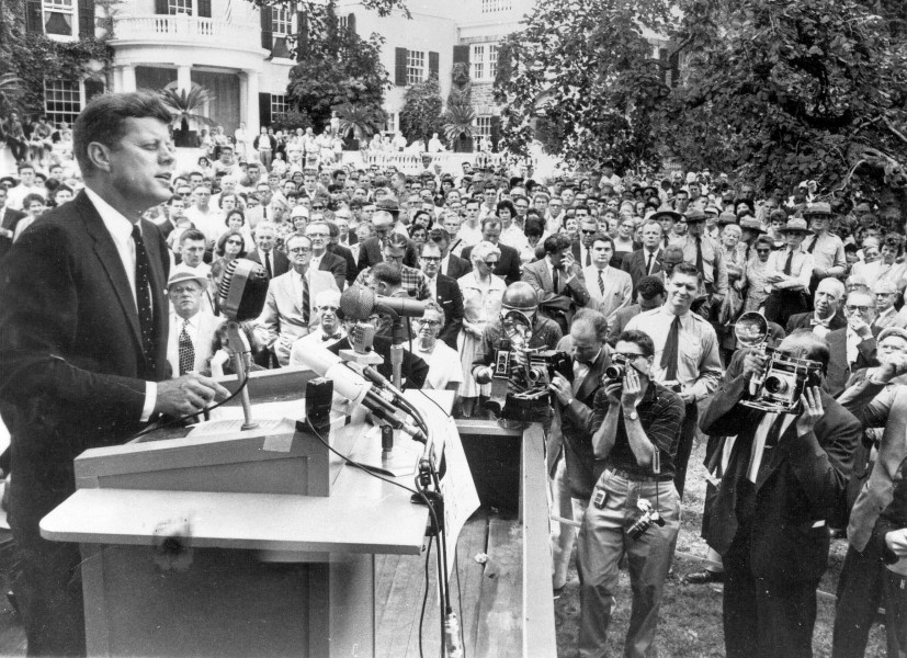 John F. Kennedy speaking at Springwood, the Roosevelt home in Hyde Park, New York (1960)