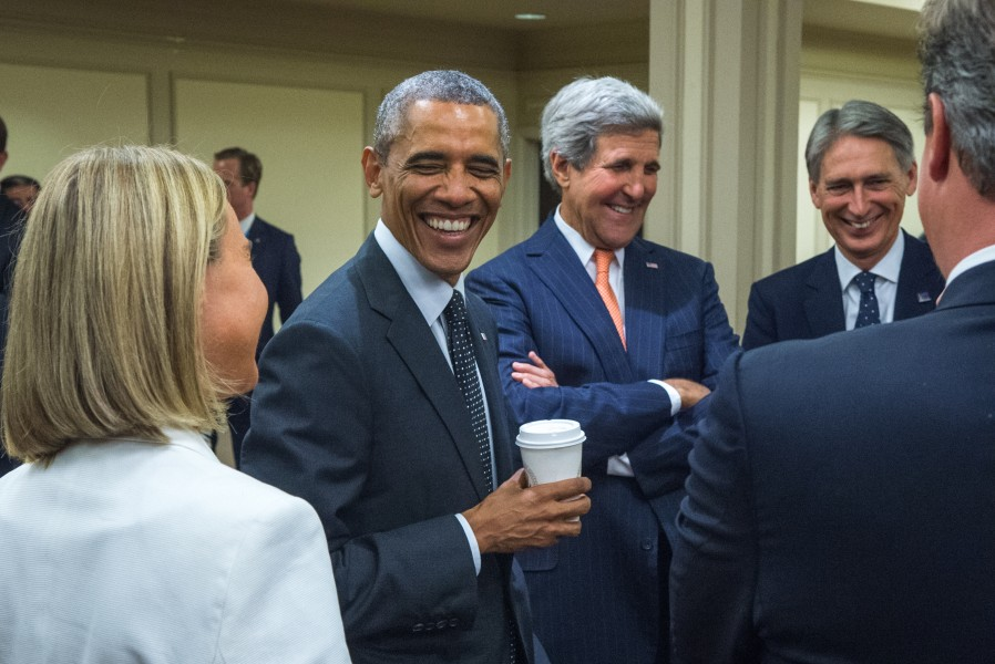 President Obama, Secretary Kerry Laugh With European Leaders at NATO Summit (14950833937)