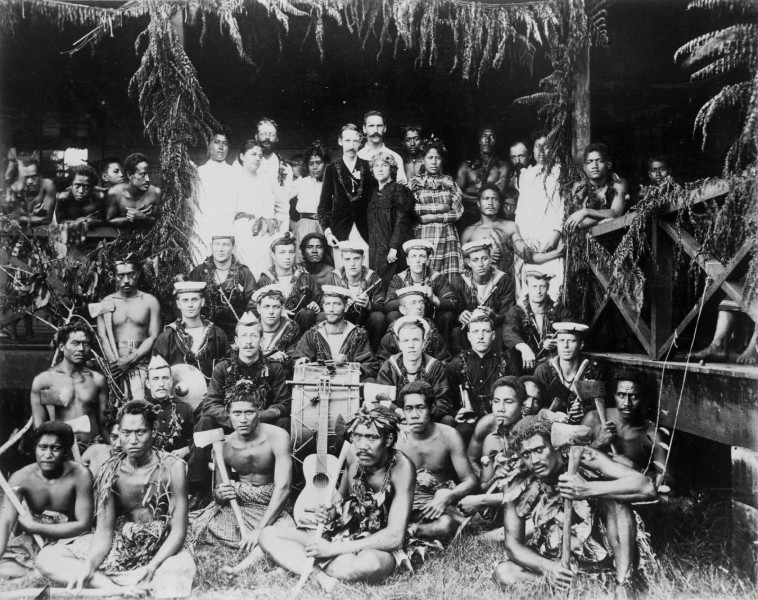 Robert Louis Stevenson, his family and Samoans, and the band of HMS Tauranga at Vailima, ca. 1890