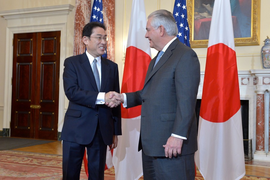 Secretary Tillerson Shakes Hands With Japanese Foreign Minister Kishida (32440784560)