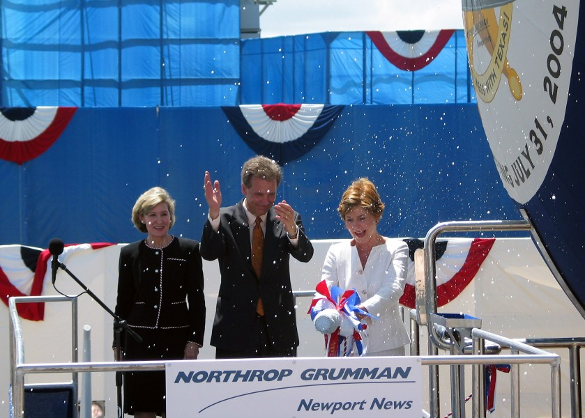 US Navy 040731-N-5268S-001 First Lady Laura Bush christens PCU Texas (SSN 775)