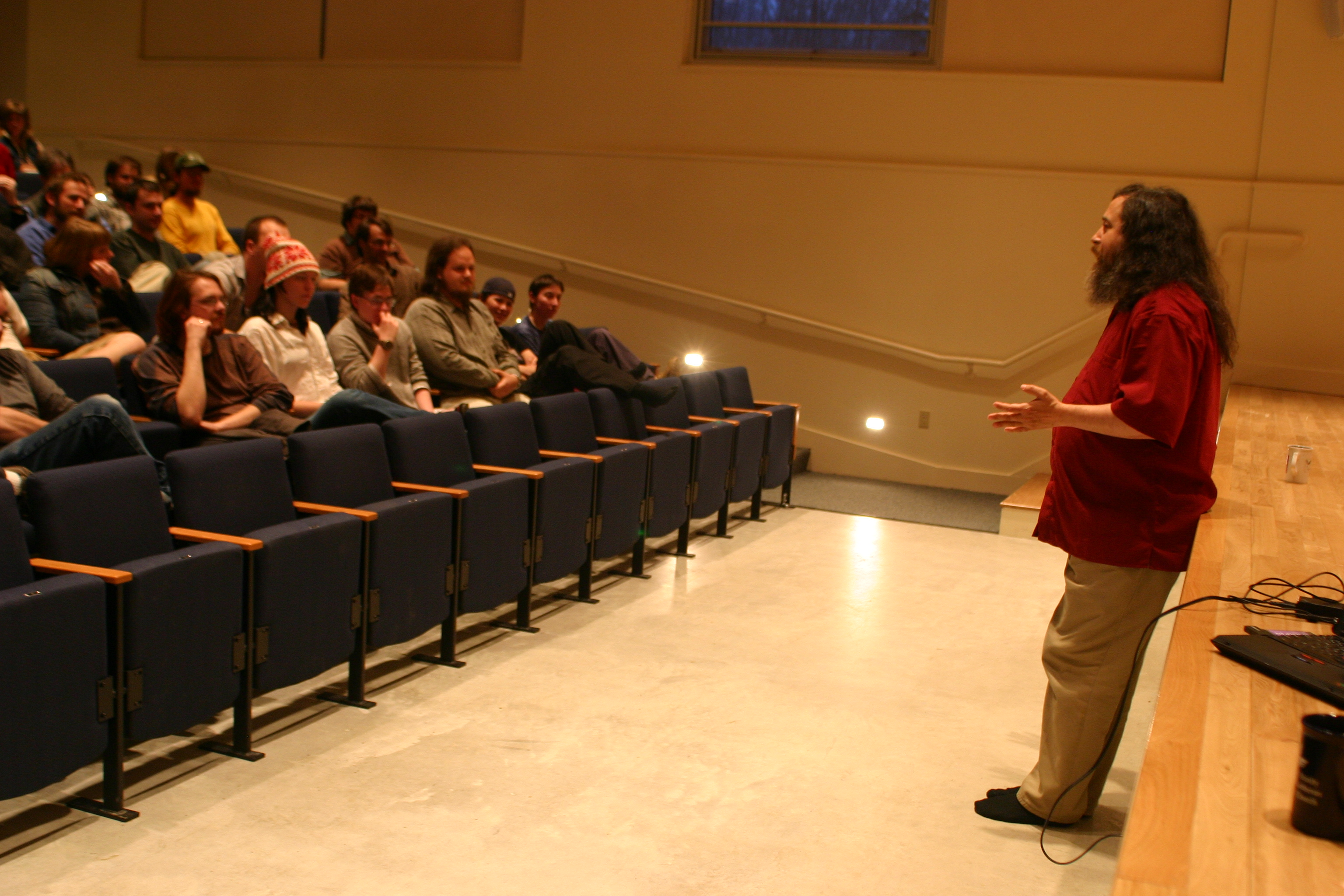 Richard M. Stallman with crowd