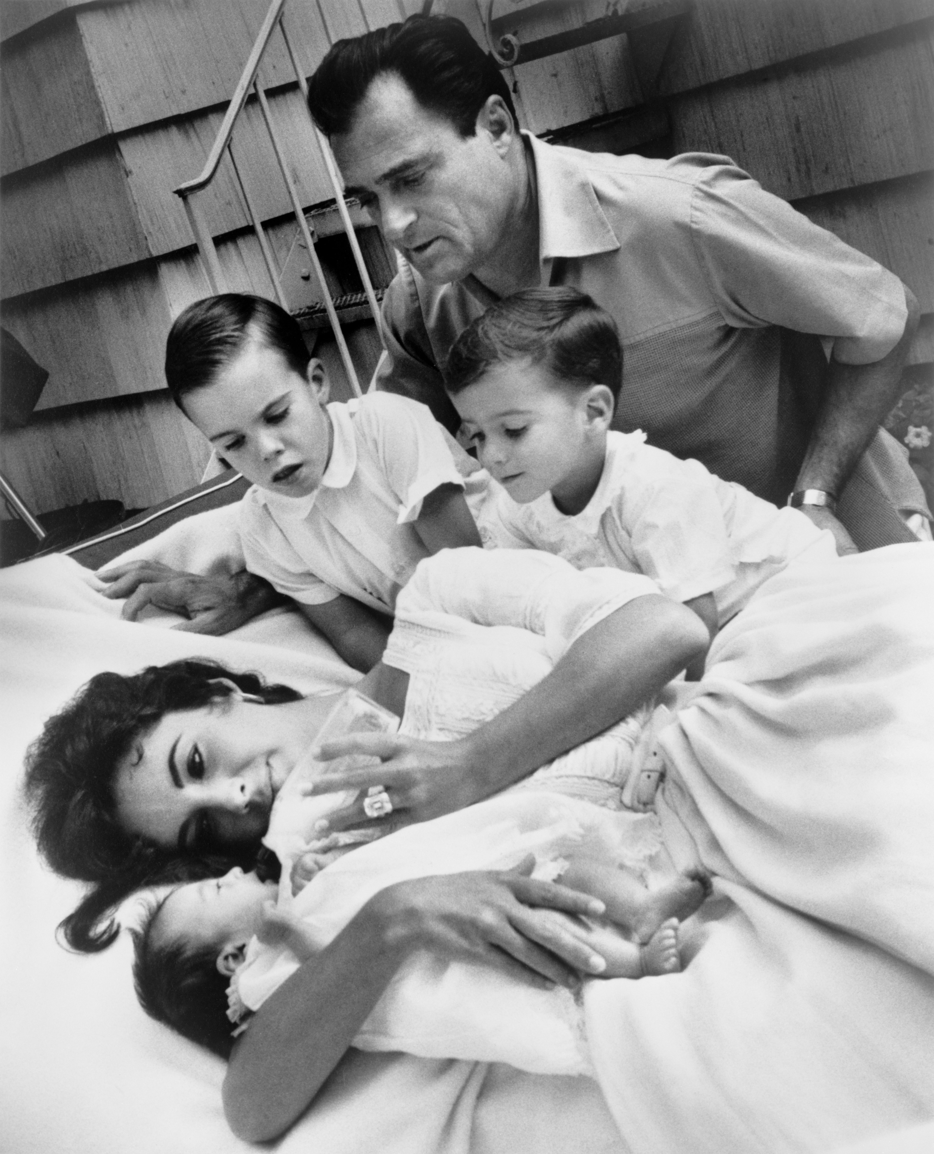 Liz Taylor, Liza Todd and family by Toni Frissell, 1957