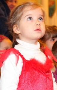 a beautiful Catholic girl at st. Nicholas day celebration in a Catholic kindergarten, photo 20