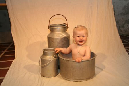 Baby and pails