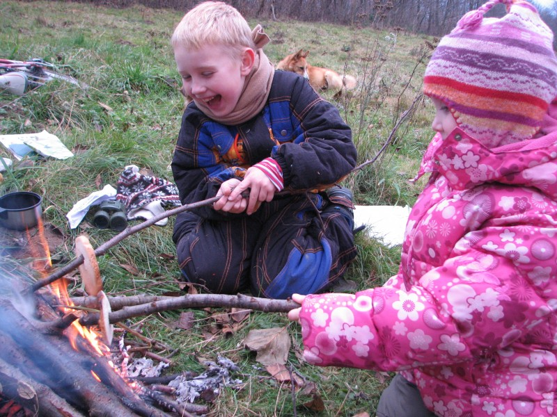 A small boy and a small girl making toasts from bread near fire, picture 3