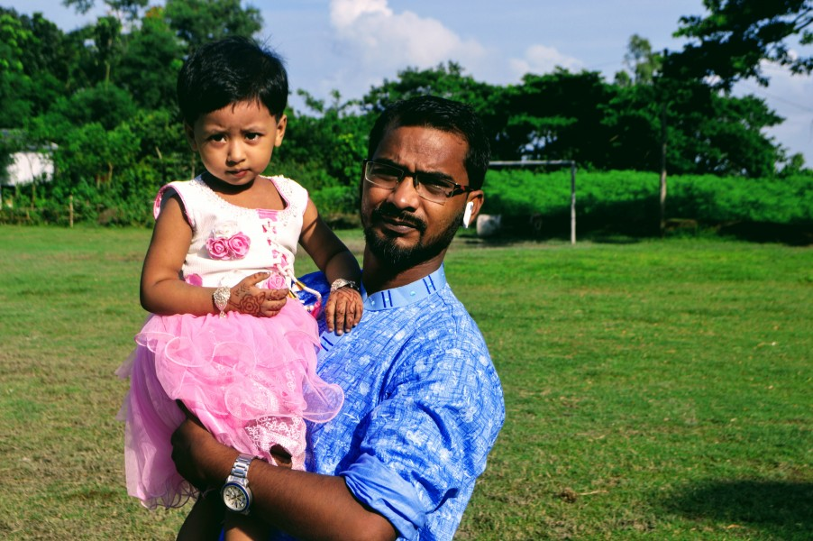 Two years of age girl with her father