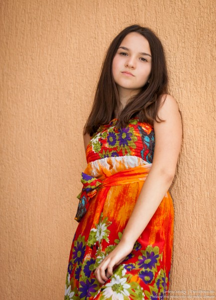 a 13-year-old brunette girl wearing a dress, photographed in July 2015, picture 2