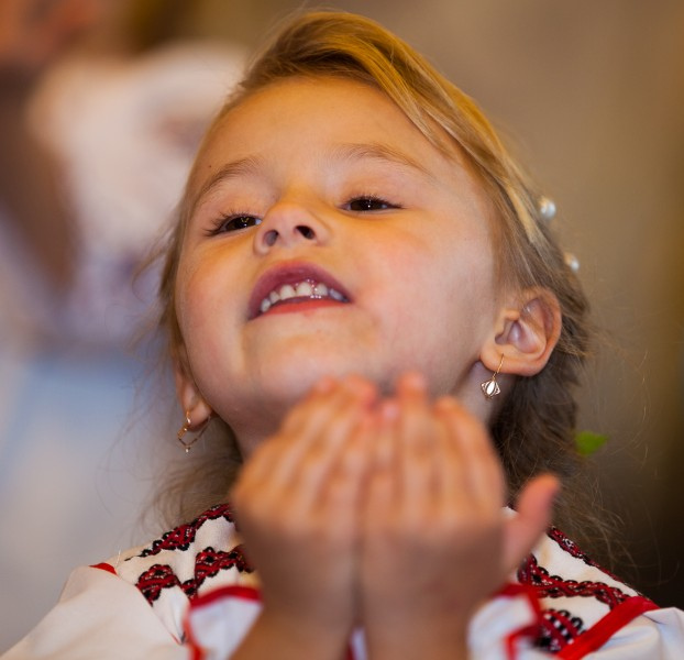 a cute blond child girl in a Catholic kindergarten photographed in November 2013, picture 2