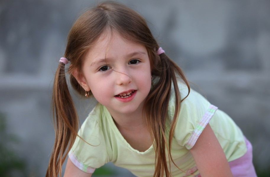 a cute brunette child girl in a Christian camp in July 2013, portrait 4/7