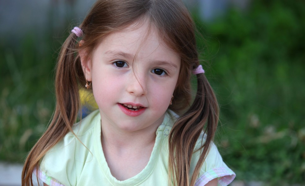 a cute brunette child girl in a Christian camp in July 2013, portrait 5/7