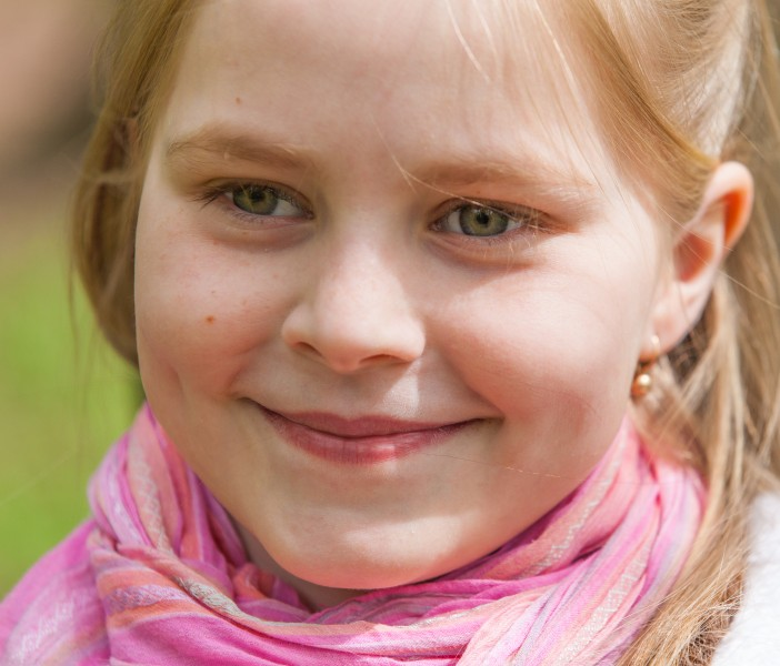 a cute Roman-Catholic blond child girl photographed in April 2014, portrait 6/29