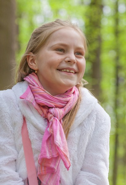 a cute Roman-Catholic blond child girl photographed in April 2014, portrait 7/29