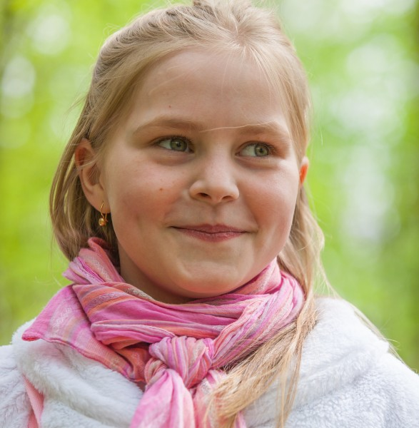 a cute Roman-Catholic blond child girl photographed in April 2014, portrait 9/29