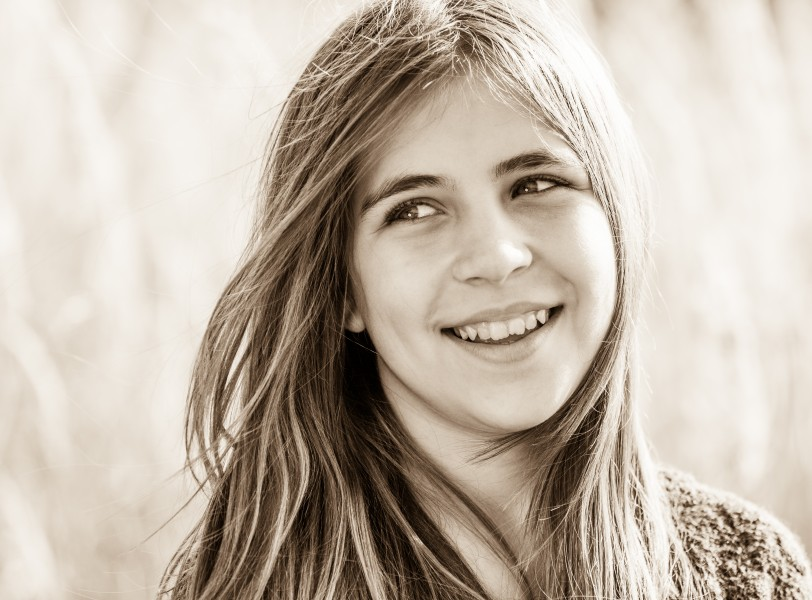 a cute young girl photographed in October 2014, picture 13, black and white