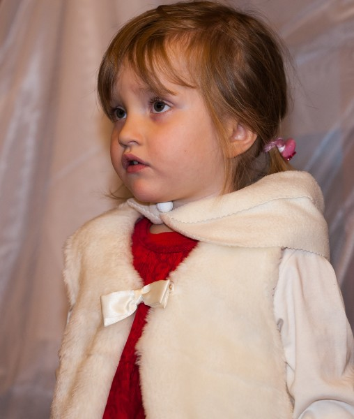 a young child girl in a Catholic kindergarten photographed in December 2013