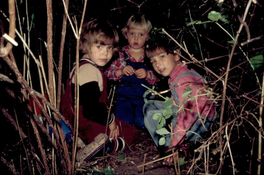 Children in dark scrub