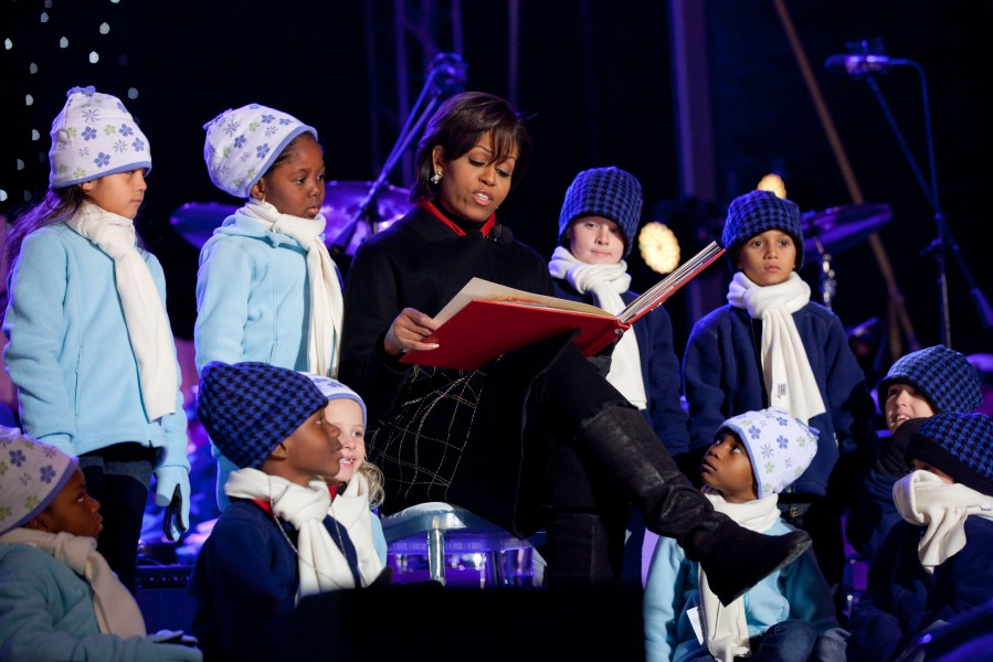 Michelle Obama at the National Christmas Tree lighting ceremony on the Ellipse in Washington, D.C., Dec. 9, 2010