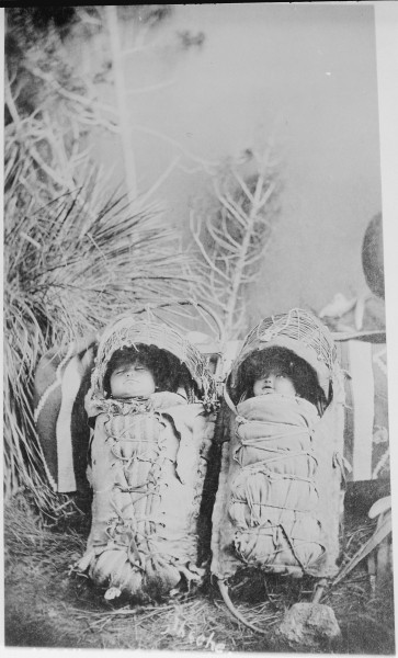 Two Apache babies on cradleboards - NARA - 530904