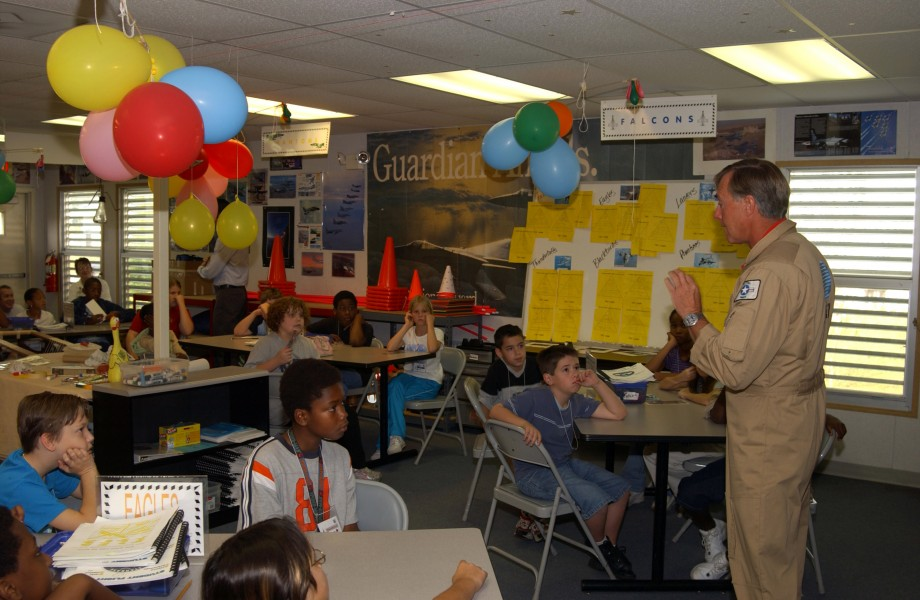 US Navy 041028-F-0971G-021 Retired Capt. Dale Snodgrass speaks to children from the Starbase program at the Florida Air National Guard Base in Jacksonville, Fla