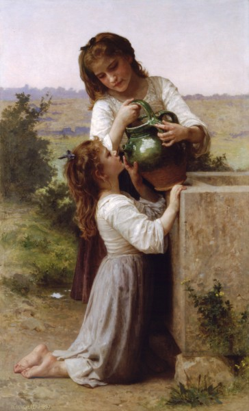 William-Adolphe Bouguereau (1825-1905) - At The Fountain (1897)