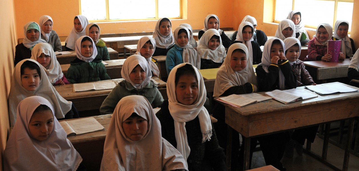 Young Afghan girls inside the classroom of Aliabad School-2012