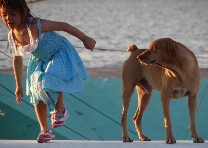 Young Girl with Dog - Along the Malecon - Campeche - Mexico