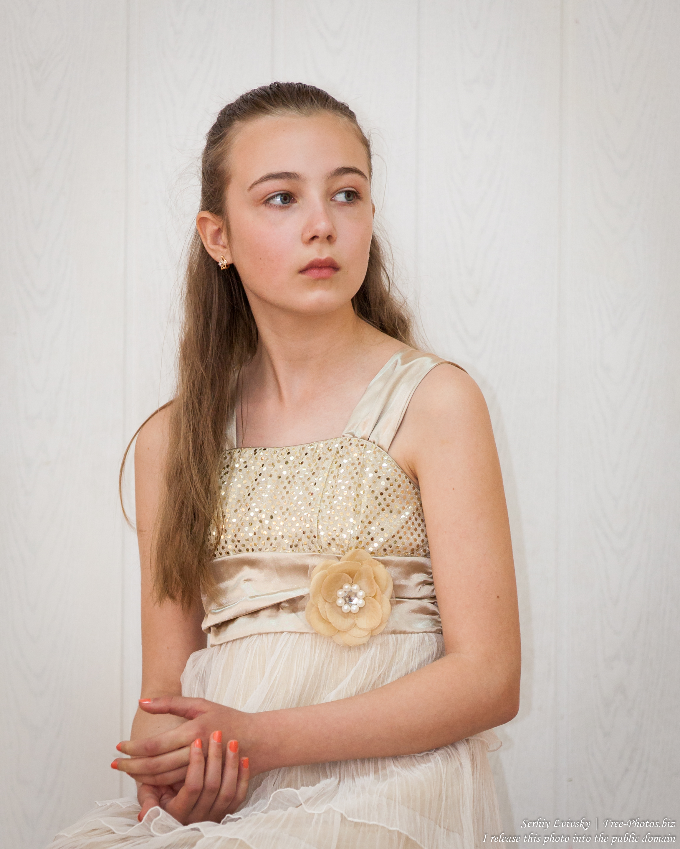 a beautiful schoolgirl wearing a dress photographed in June 2015, picture 1