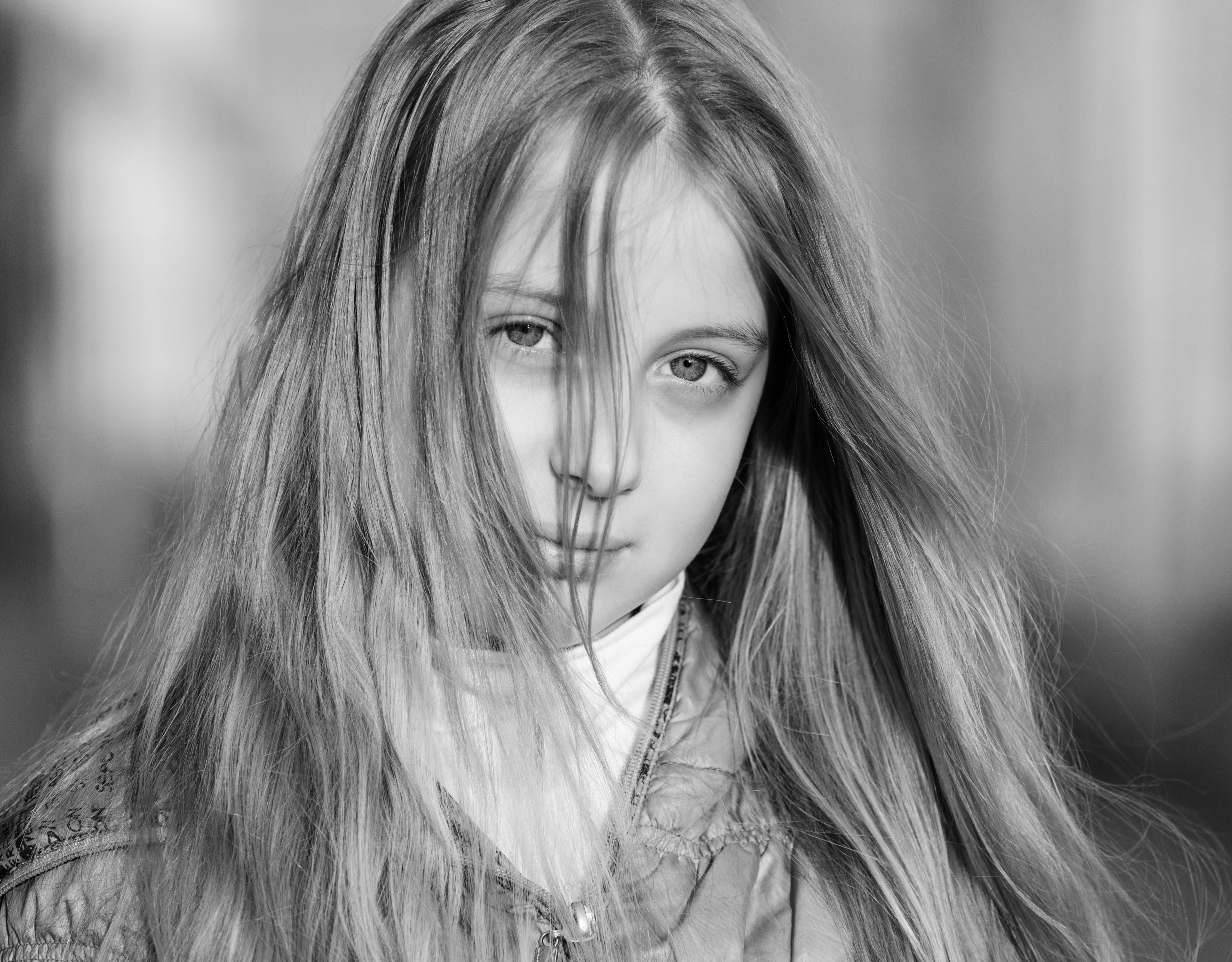 a blond long-haired Roman-Catholic girl photographed in April 2014, portrait 11 out of 11, black and white
