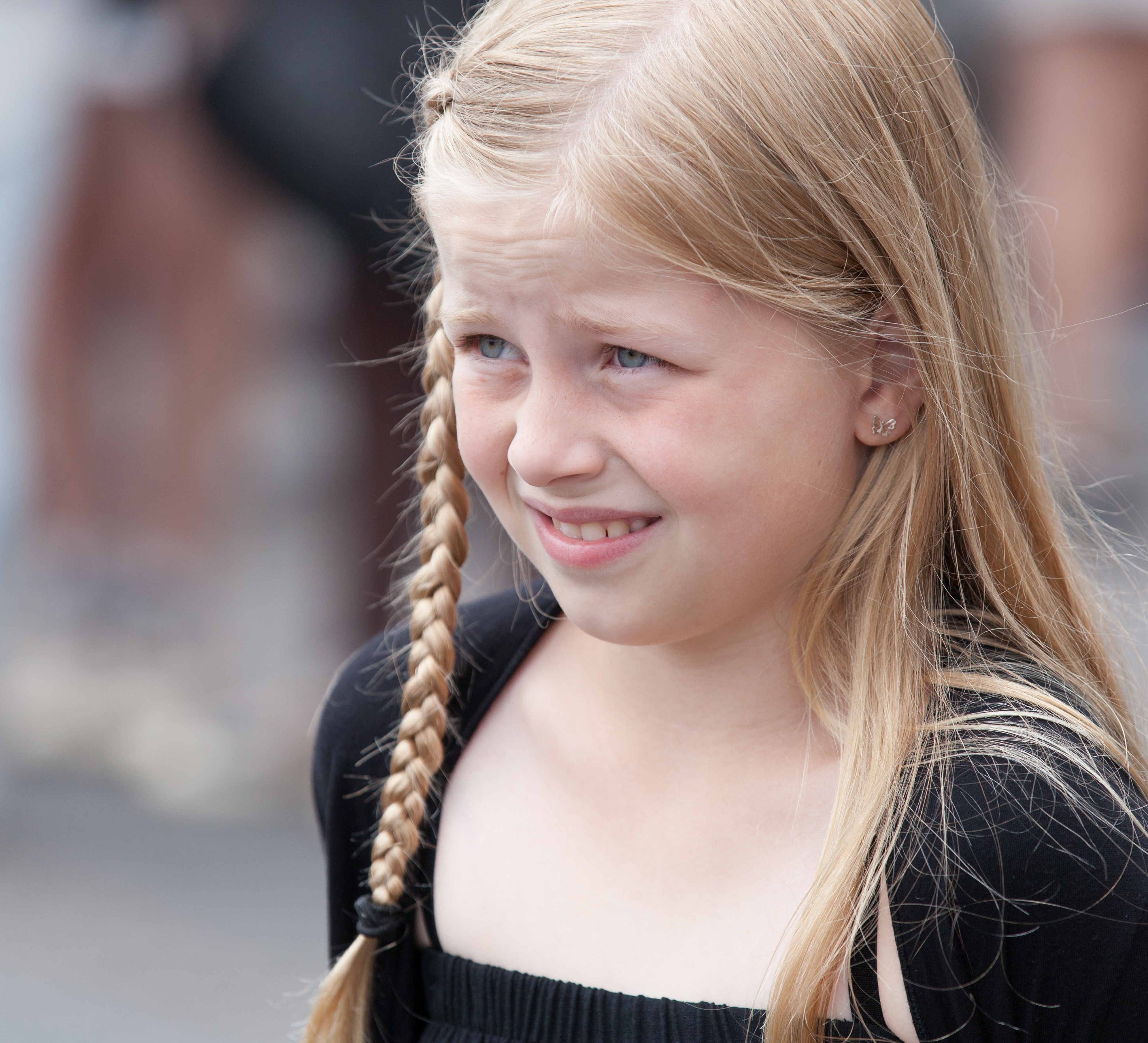 a cute fair-haired child girl in Copenhagen, Denmark, in June 2014, picture 46
