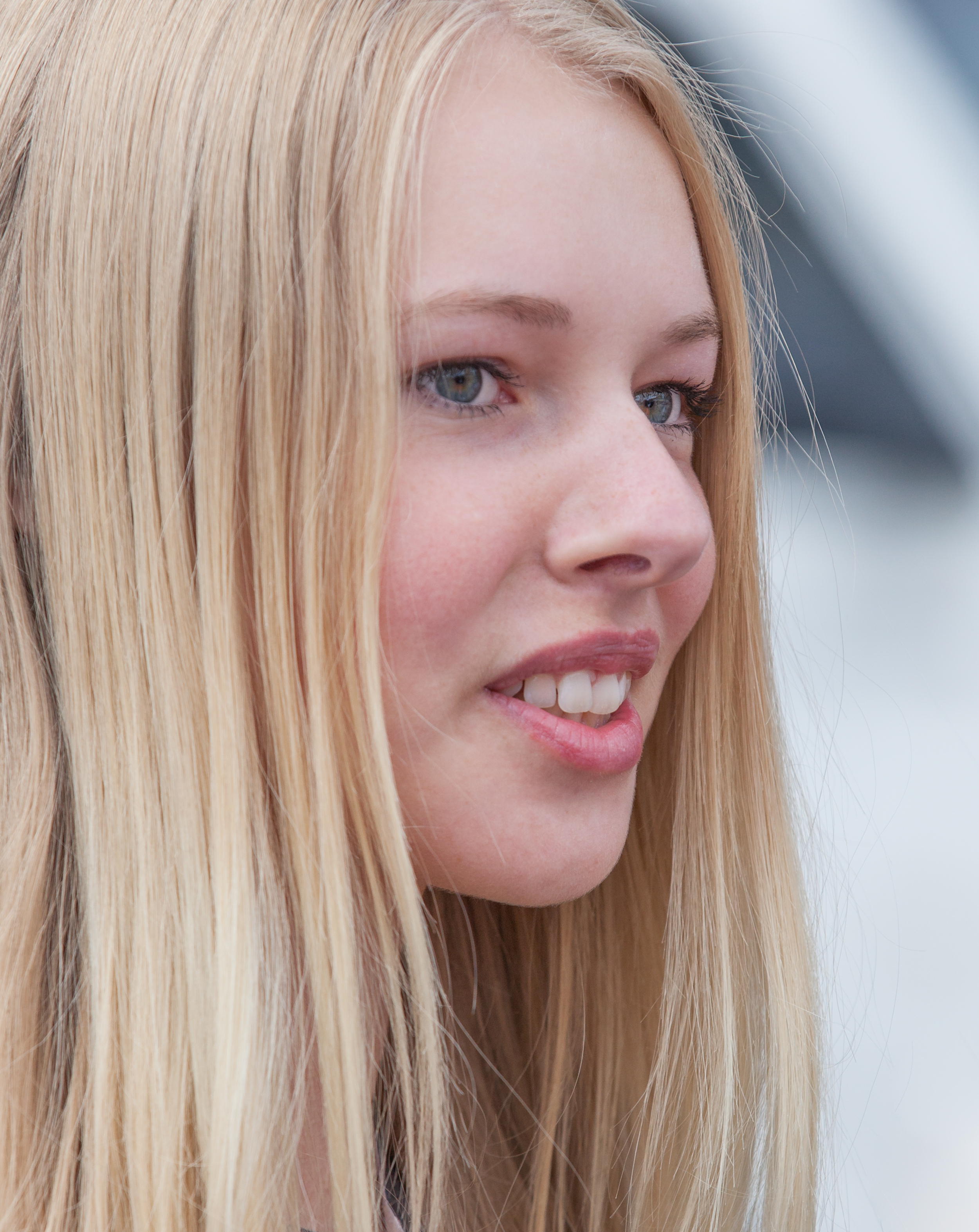 a cute fair-haired girl in Copenhagen, Denmark, in June 2014, picture 52