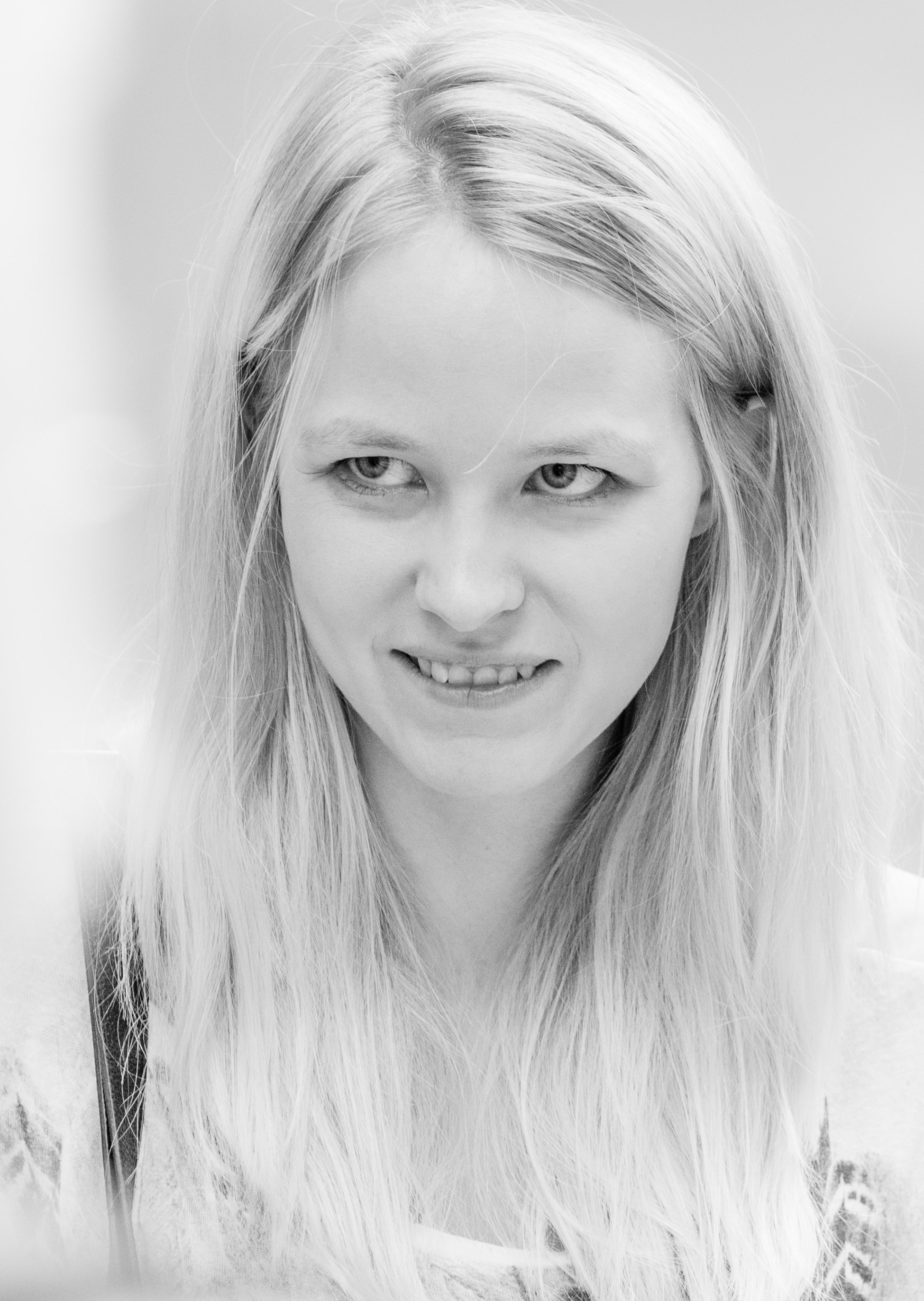 a cute girl photographed in Stockholm, Sweden in June 2014, black and white, picture 20/26